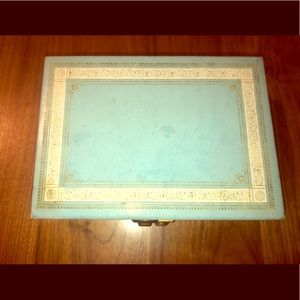 VINTAGE 1950's Jewelry Box Baby Blue with Locket